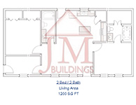 2 Bed 2 Bath Barndominium Floor Plan - JM Buildings