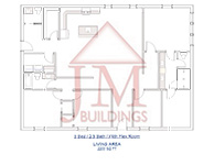 3 Bed 2 Bath Barndominium Floor Plan - JM Buildings